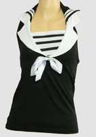 Front - TS V stripe black top sailor top
