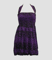 Front EB punk flower purple elastic dress