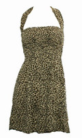 Front EB leopard L brown elastic dress