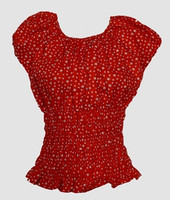 Front - Top elastic star big small red top elastic top