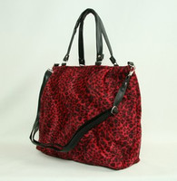 Leopard red fashion fluffy bag