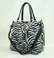 Zebra white fashion fluffy bag