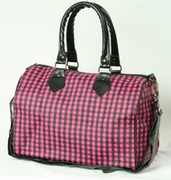 Check pink large bowling bag
