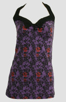 Front - LO skull rose purple long top pin up