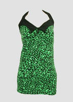 Front - LO leopard green long top pin up