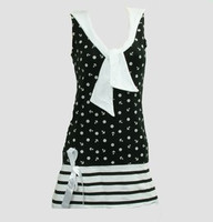 Front - Dress anchors stripe black sailor dress