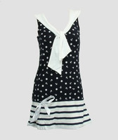 Front - Dress anchors stripe navy sailor dress