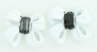 C bow double white colorful stud