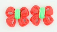 C bow double red colorful stud