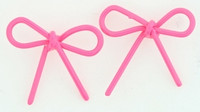 C bow thin pink colorful stud