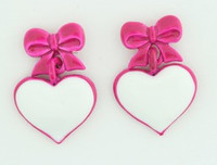C heart bow pink colorful stud
