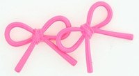 C bow thick pink colorful stud