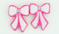 C bow long white-pink colorful stud