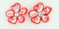 C flower white-red colorful stud