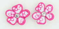 C flower white-pink colorful stud