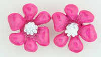 C flower pink-white colorful stud