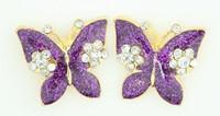 S butterfly big purple stone stud