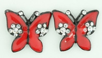 S butterfly big red stone stud