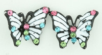 S butterfly line white stone stud