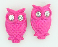 C owl pink colorful stud