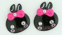 C cute bunny black colorful stud