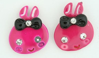 C cute bunny pink colorful stud