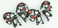 S bow black flower red stone stud