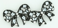 S Bow Black Flower White Stone Stud