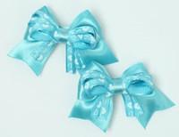 Heart blue cute baby hair clips pair