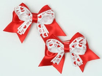 Heart red / white-red cute baby hair clips pair