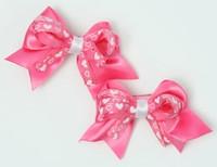 Heart D pink / D pink-white cute baby hair clips pair