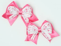 Heart D pink / white-pink cute baby hair clips pair