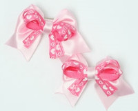 Heart L pink / D pink-white cute baby hair clips pair