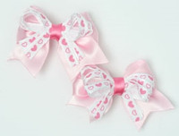Heart L pink / white-pink cute baby hair clips pair