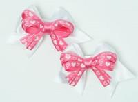 Heart white / D pink-white cute baby hair clips pair