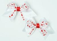 Heart white-red cute baby hair clips pair