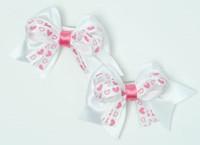Heart white / white-pink cute baby hair clips pair