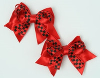 Check red cute baby hair clips pair
