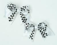 Check white / black-white cute baby hair clips pair