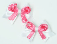 Dot white / D pink-white cute baby hair clips pair