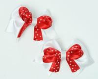 Dot white / red-white cute baby hair clips pair