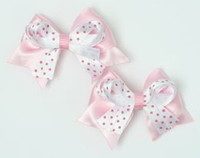 Dot L pink / white-pink cute baby hair clips pair
