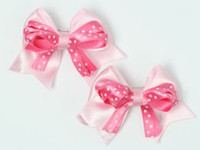 Dot L pink / D pink-white cute baby hair clips pair