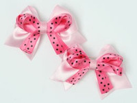 Dot L pink / D pink-black cute baby hair clips pair