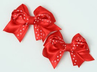 Dot red-white cute baby hair clips pair