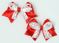 Dot red / white-red cute baby hair clips pair