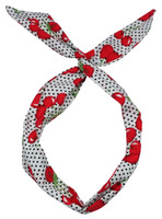 P cherry white dot pin up head band
