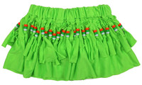 Mini skirt with beads green neon