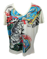 Tiger dragon yin yang white