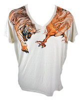 Final battle tiger vs dragon white t-shirt super cool design